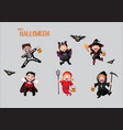 children in halloween costumes vector image