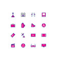 cinema color line icons in linear style flat vector image vector image