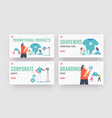 company advert landing page template set tiny vector image