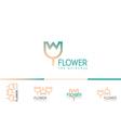 Creative gradient set logo on a floral studio vector image vector image