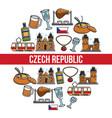 czech republic famous landmarks poster vector image vector image