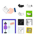 e-commerce and business cartoonblackflat vector image