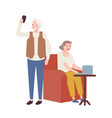 elderly couple using modern devices grandmother vector image