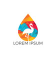 flamingo water drop logo icon design vector image