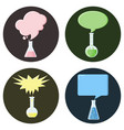 flasks with speech bubbles set of icons vector image