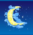 fun cartoon yellow crescent moon among the stars vector image