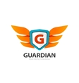 guardian protection logo wings with shield vector image vector image