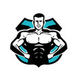 gym bodybuilding sport logo or label happy vector image vector image