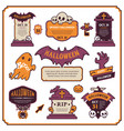 halloween design labels color set vector image vector image