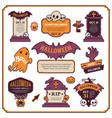 Halloween design labels color set