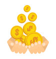 hand catch falling gold money cash coins vector image vector image