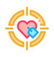 heart target icon outline vector image vector image