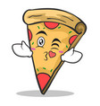 kissing face pizza character cartoon vector image vector image