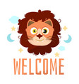 lion animal cartoon baby shower card celebration vector image