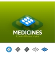 Medicines icon in different style vector image vector image