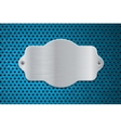 Metal shield on blue perforated background vector image vector image