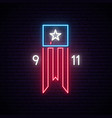 patriot day 9-11 neon sign twin towers on vector image vector image