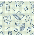 Pattern elements of office supplies vector image vector image