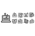 phishing icon set outline style vector image