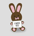 pink bunny with message i miss you vector image vector image