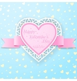 Pink paper heart with ribbon and lace vector image