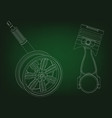 piston and wheel with shock absorber on a green vector image vector image