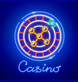 roulette in casino neon icon vector image