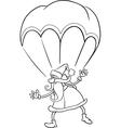 santa on parachute cartoon coloring page vector image vector image