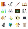 set color flat school subject icons