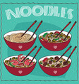 set of four chinese noodle soups vector image vector image