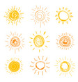 set sun in hand drawn style illustration vector image