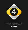 silver number four logo in silver-yellow square vector image vector image