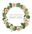 stylish wreath round frame from creamy rose vector image vector image