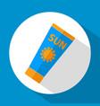 sun care sun protection sunscreen tube flat icon vector image vector image
