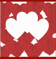 three hearts on a background of hearts from roses vector image vector image