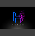 tree letter h design logo with purple blue vector image vector image