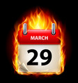 twenty-ninth march in calendar burning icon on vector image vector image