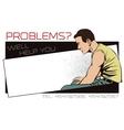 Upset man Template ads rehabilitation center vector image