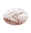 Vintage engraved hand drawn vineyards landscape vector image