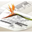 Architectural background with a flower vector image