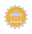 image with temple in toothed circle vector image
