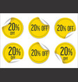 20 percent off yellow paper sale stickers vector image vector image