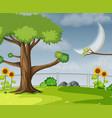 a flat garden scene vector image vector image