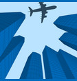 advertising of travel city landscape plane over vector image vector image