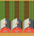 Aerial scene of farm with three barns vector image