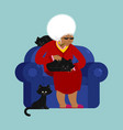 african american grandmother and cat sitting on vector image vector image
