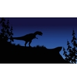 At night silhouette of Allosaurus vector image vector image
