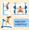 athletics sportsman and sportswoman training gym vector image