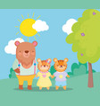back to school bear and tiger kids cartoon vector image