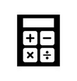 black icon calculator cartoon vector image